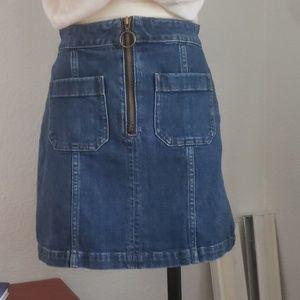 Madewell retro zip front mini denim skirt